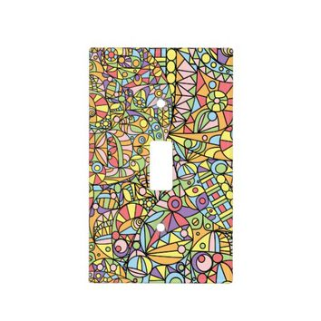 Colorful Abstract Doodle Fantasies Pattern Light Switch Cover