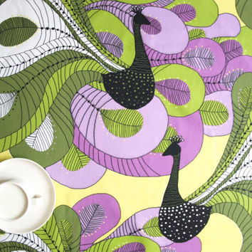 Tablecloth white olive green lillac black abstract peacock , also napkins , table runner , pillow , curtains available, great GIFT