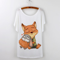 New Fashion Cartoon Zootopia Cute Print Summer Tops 2016 Casual Tshirt Women T Shirt Short Sleeve graphic Tee Shirt Femme White
