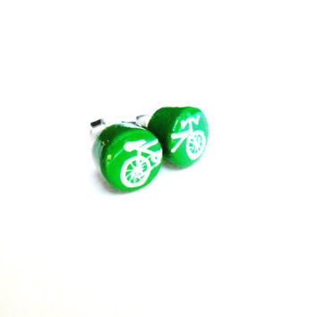Green Bicycle Earring Studs - Road Bike Jewelry Mismatched Earrings - Athletic Jewelry - Eco Friendly