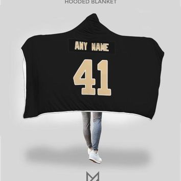 New Orleans Saints Hooded Blanket - Personalized Any Name & Any Number