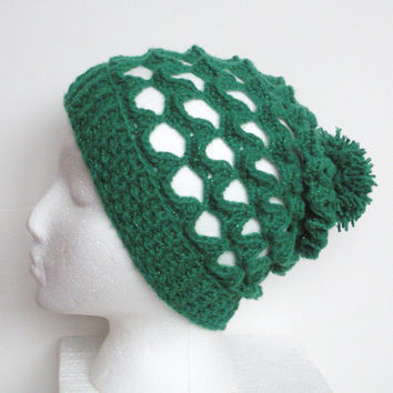 Lacey Crochet Slouch Beanie Hat in Green Shimmer, ready to ship.