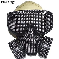 Holographic Rhinestone Goggles and Gas Mask