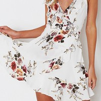 Look Alive Floral Pattern Sleeveless Spaghetti Strap Ruffle V Neck Cross Wrap Cut Out Lace Up Back Casual Mini Dress - 2 Colors Available