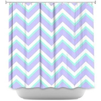 DiaNoche Designs Shower Curtains by Monika Strigel Stylish, Decorative, Unique, Cool, Fun, Funky Bathroom - Purple Mint Layer I