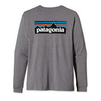Patagonia P-6 Logo Mens Longsleeve Tshirt in Gravel Heather (51684-GLH)