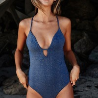 Shine Light Criss Cross Back One Piece Swimsuit - Navy
