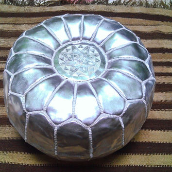 Moroccan leather Pouf ,Ottoman Poof ,Pouffe ,pouffes hassock ,Footstool silver.