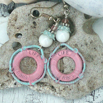 Life Preserver Earrings LIFE Ring EaRriNgs BEACH EARRINGS Beach Jewelry Nautical EaRRings Lifeguard EaRRIngs Pink and Mint