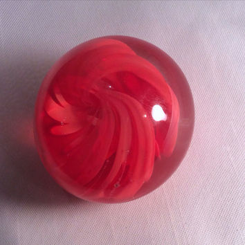 Mini Paperweight with Red Swirls, Hand Blown Glass. Gifts Under 10.