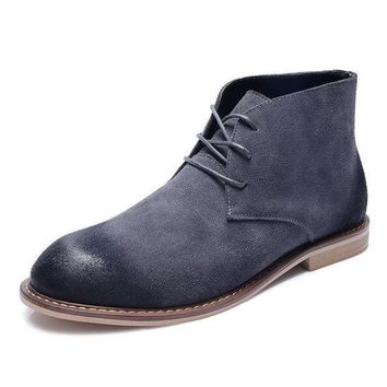Winter Fashion Men Chelsea Boots Cow Suede Ankle Boots