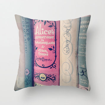 Pink Books Pillow- Bedding, Decor, Nursery, Library, Girl's Room, Jane Austen, Alice in Wonderland, librarian, Bronte, couch pillow,