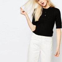 Monki Button Up Polo Shirt at asos.com