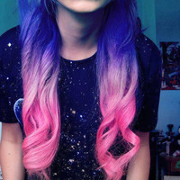 Lavender Candy Ombre Dip Dye Clip In Human Hair Extensions 14""