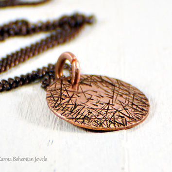 Small Disc Long Necklace. Copper Circle Textured Medallion Pendant. Long Chain Necklace For Men. Long Boho Minimalist Jewelry. Layered