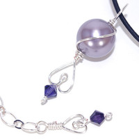 Lavender purple Swarovski crystal pearl charm black leather cord necklace, Valentine's Day, Adjustable lobster claw clasp, Wire wrap heart
