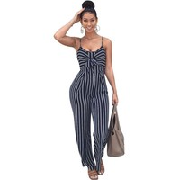 Yuerlian Women Knotted Strips Club Jumpsuits Spaghetti Strap Sleeveless Rompers 2017 Summer Lady Strappy Leotard Ruches Overalls