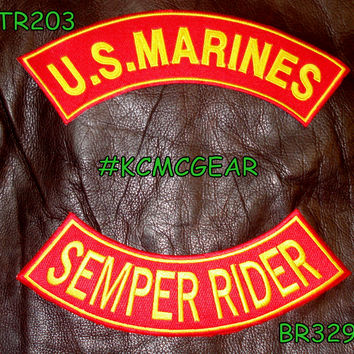 U.S. Marines Semper Rider Embroidered Military Patch Set Sew on Patches for Jackets