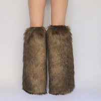 Brown Boot Covers *above-the-knee* FREE SHIPPING: Brown Rave Fluffies Boot Covers Fur Leg Warmers Furry Legwarmers Festivals Winter