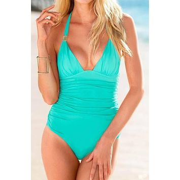 Runched Style Aqua One Piece Swimsuit