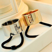 European Metal Circle Hair Cuff PonyTail Elastic Rope Band Hair Tie Holder Rings