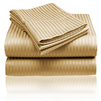 Cozy Home 1800 Series Embossed Striped 4-Piece Sheet Set Queen - Gold