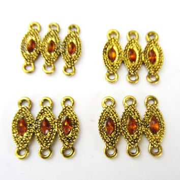 Metal Jewelry Connectors, Set of eight, Gold and Amber