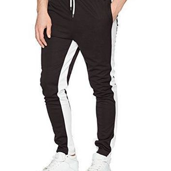 Southpole Men's Athletic Skinny Track Pants Open Bottom, Black, Medium