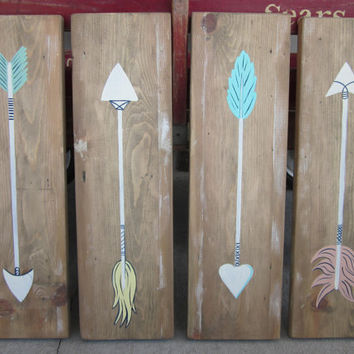 Arrows on Reclaimed Wood Sign - Set of 4  -Distressed Tribal Wood Art - Painting