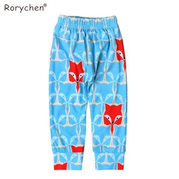 Rorychen Cotton Baby Pants Cartoon Fox Printed Newborn Infant Girls Boys Trousers Spring Autumn Baby Clothing for 0-2 years old