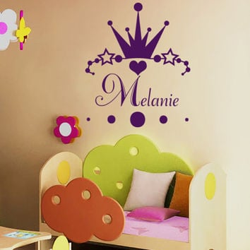 Personalized Name Decals Princess Decal Crown Girl Nursery Room Wall Decal  Vinyl Sticker Wall Decor Home Interior Design Art Mural U352