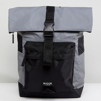Nicce London Rolltop Backpack In Reflective at asos.com