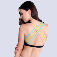 Brand Women Shake Proof Padded Sport Bra Wicks Sweat Underwear Gym fitness Yoga Top Sexy back builder Running Jogging WIRELESS
