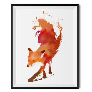 Red Fox Watercolour Print with Frame, Fox Art Print, Fox Illustration Fox Painting Home Fox Poster Wall Hanging Fox Kids Print Robert Farkas