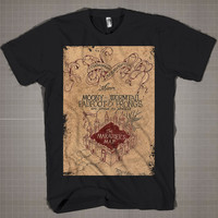 The Marauders Map of Harry Potter  Mens and Women T-Shirt Available Color Black And White