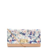 Stone Contrast Floral Print Double Twist Lock Clutch
