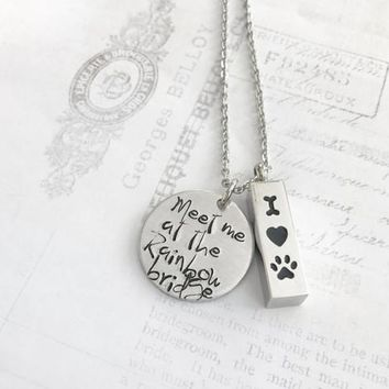 Pet loss - Hand stamped URN necklace - Pet memorial 84810f4ade