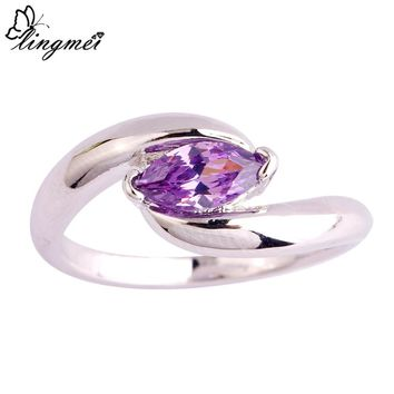 lingmei Wholesale New Jewelry Marquise Cut Purple Silver Ring Size 6 7 8 9 10 11 Fashion Women Wedding Rings Free Shipping