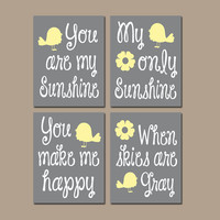 Yellow Gray You Are My Sunshine Bird Birdie Flower Wall Art Girl Artwork Nursery Rhyme Quote Baby Song Set of 4 Prints Baby Crib Decor