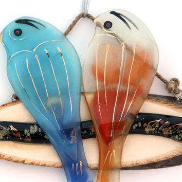 Fused glass Ornaments , colorful  love birds  and Decorations hanging wall art.