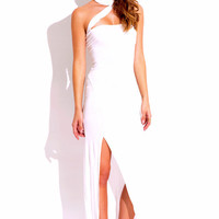 Elegant White Slit Maxi Dress