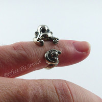 Monkey ring - Cute wrap ring jewelry - Monkey and banana  ring is Silver - Weddings - Birthdays - bridesmaids and more -  Handmade # 0027