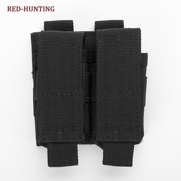 Tactical Gun Pistol Double Mag Pouch Adapts to Military SWAT Police Utility Belt or Molle Equipment Tactical Vest