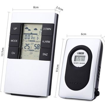 TS - H146 Wireless Weather Station Alarm Clock Barometer  -  SILVER WHITE