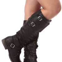 Black Faux Leather Knee High Combat Boots