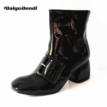New Soft Patent Leather Women Square Toe Thick High Heels Ankle Boots Winter Martin Boots