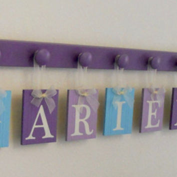 Mermaid - Under The Sea - Personalized Hanging Name Sign Decor - 7 Nameplate ARIEL with Mermaids - Baby Shower Gift Custom Nursery Sea Decor