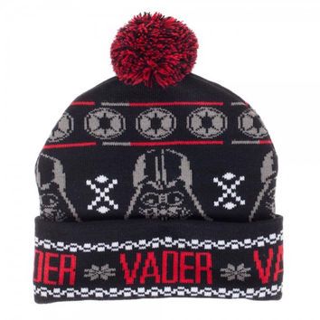 Star Wars Darth Vader Mask and Logo Knit Cuffed Beanie with Pom on Top Disney