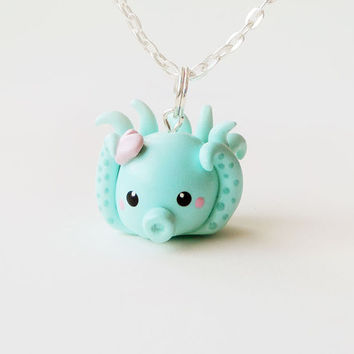 Pretty Turquoise Blue Octopus Necklace Polymer Clay Charm Animal