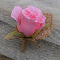 Single pink rosebud boutonniere, Rustic wedding flower, Buttonhole